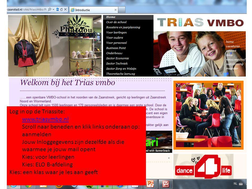 Log in op de Triassite: www.triasvmbo.nl Scroll naar beneden en klik links onderaan op: aanmelden Jouw Inloggegevens zijn dezelfde als die waarmee je jouw mail opent Kies: voor leerlingen Kies: ELO B-afdeling Kies: een klas waar je les aan geeft