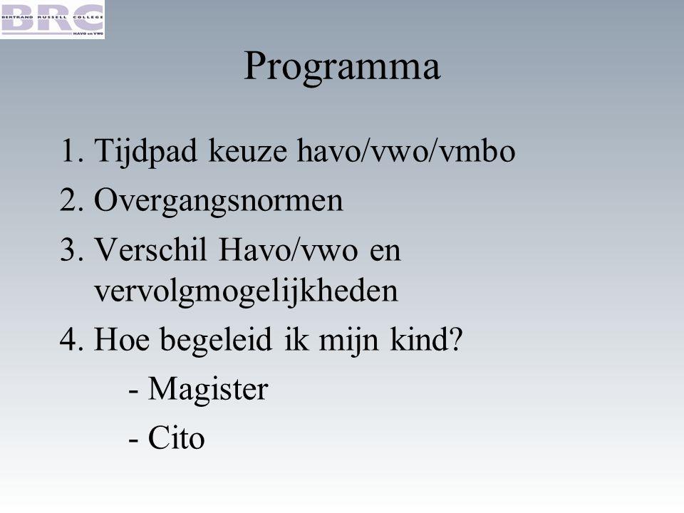 Programma 1.Tijdpad keuze havo/vwo/vmbo 2.Overgangsnormen 3.Verschil Havo/vwo en vervolgmogelijkheden 4.Hoe begeleid ik mijn kind.