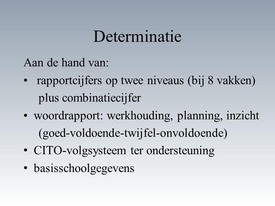 Determinatie Aan de hand van: rapportcijfers op twee niveaus (bij 8 vakken) plus combinatiecijfer woordrapport: werkhouding, planning, inzicht (goed-voldoende-twijfel-onvoldoende) CITO-volgsysteem ter ondersteuning basisschoolgegevens
