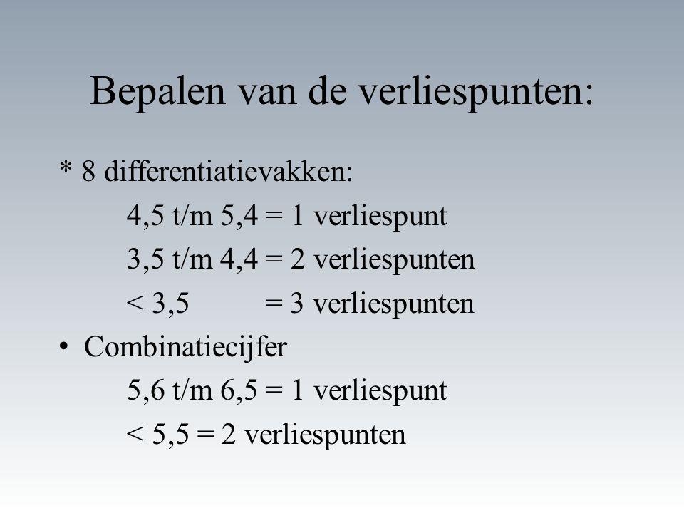 Bepalen van de verliespunten: * 8 differentiatievakken: 4,5 t/m 5,4 = 1 verliespunt 3,5 t/m 4,4 = 2 verliespunten < 3,5 = 3 verliespunten Combinatiecijfer 5,6 t/m 6,5 = 1 verliespunt < 5,5 = 2 verliespunten