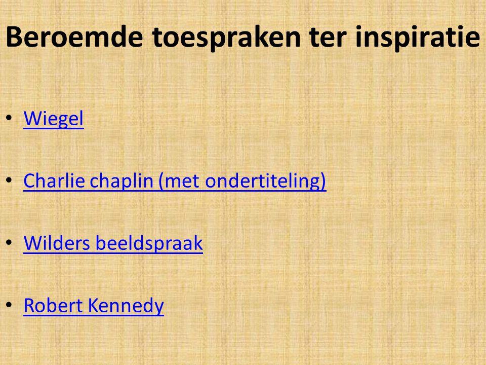 Beroemde toespraken ter inspiratie Wiegel Charlie chaplin (met ondertiteling) Wilders beeldspraak Robert Kennedy