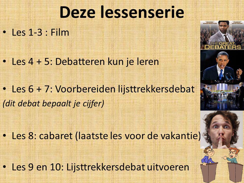 Deze lessenserie Les 1-3 : Film Les 4 + 5: Debatteren kun je leren Les 6 + 7: Voorbereiden lijsttrekkersdebat (dit debat bepaalt je cijfer) Les 8: cab