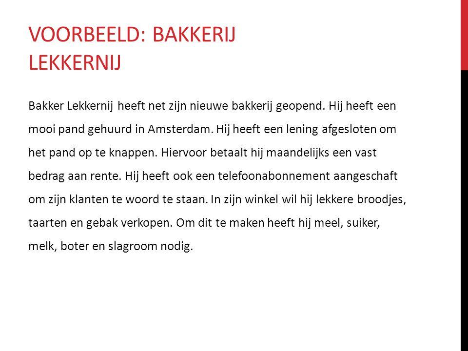 VOORBEELD: BAKKERIJ LEKKERNIJ Bakker Lekkernij heeft net zijn nieuwe bakkerij geopend. Hij heeft een mooi pand gehuurd in Amsterdam. Hij heeft een len
