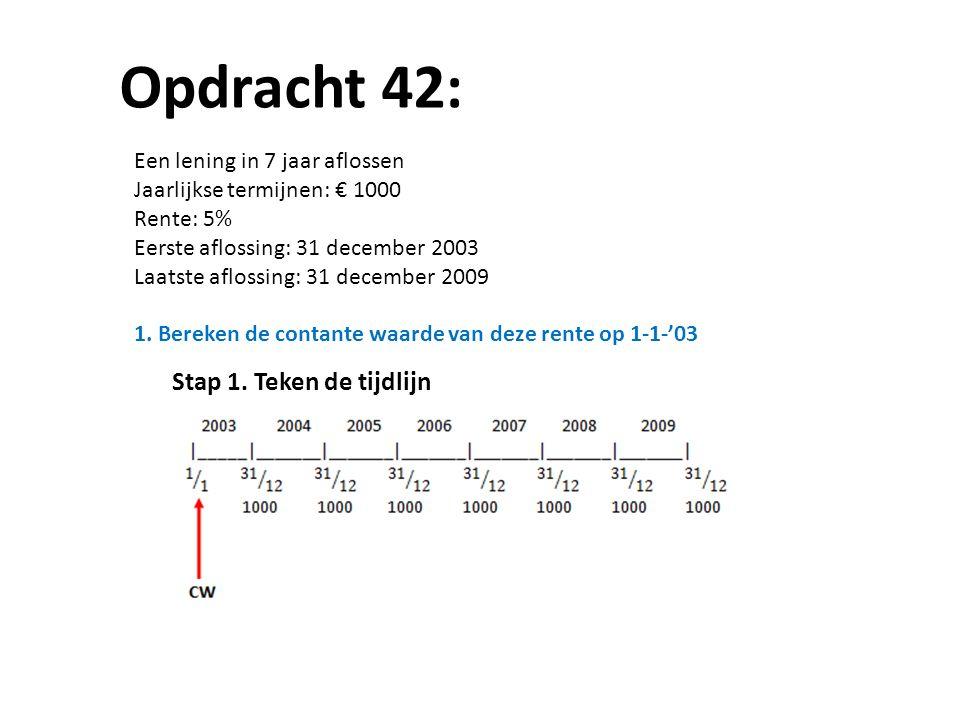 Opdracht 42: Een lening in 7 jaar aflossen Jaarlijkse termijnen: € 1000 Rente: 5% Eerste aflossing: 31 december 2003 Laatste aflossing: 31 december 20