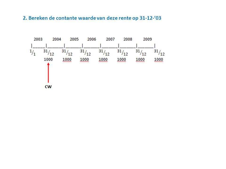 2. Bereken de contante waarde van deze rente op 31-12-'03