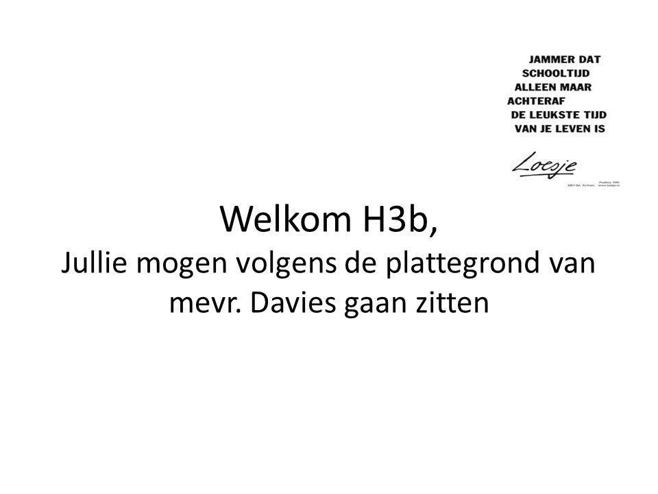 Welkom H3b, Jullie mogen volgens de plattegrond van mevr. Davies gaan zitten