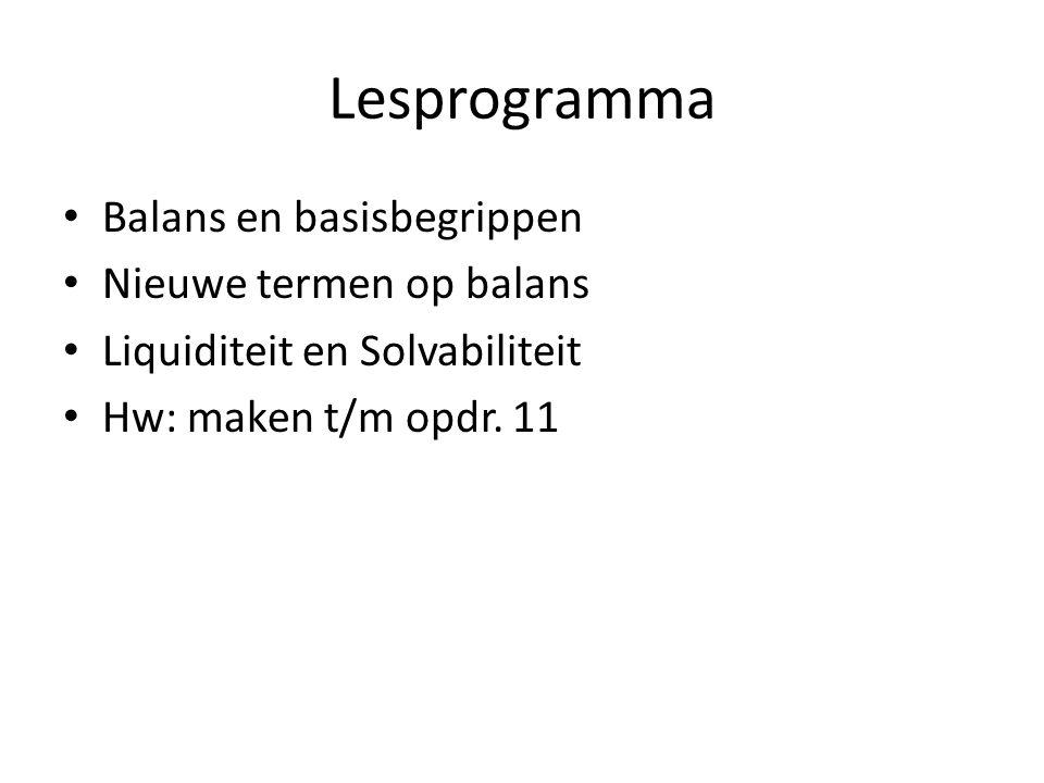 Lesprogramma Balans en basisbegrippen Nieuwe termen op balans Liquiditeit en Solvabiliteit Hw: maken t/m opdr. 11