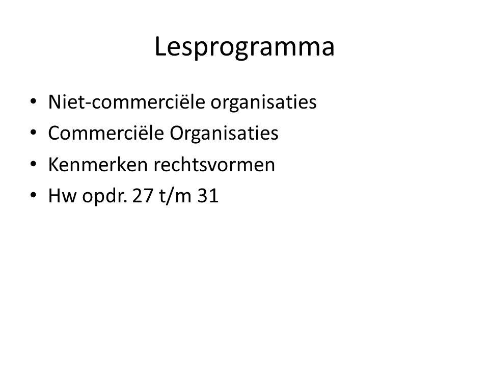 Lesprogramma Niet-commerciële organisaties Commerciële Organisaties Kenmerken rechtsvormen Hw opdr. 27 t/m 31