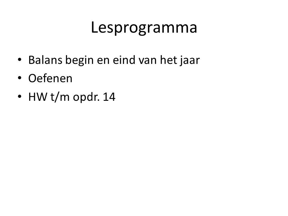 Lesprogramma Balans begin en eind van het jaar Oefenen HW t/m opdr. 14