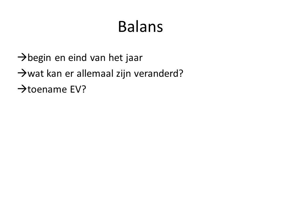 Balans  begin en eind van het jaar  wat kan er allemaal zijn veranderd?  toename EV?