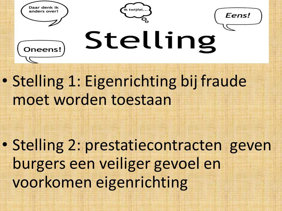 Stelling 1: Eigenrichting bij fraude moet worden toestaan Stelling 2: prestatiecontracten geven burgers een veiliger gevoel en voorkomen eigenrichting