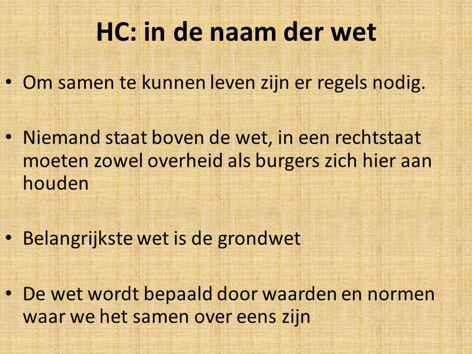 HC: in de naam der wet Om samen te kunnen leven zijn er regels nodig. Niemand staat boven de wet, in een rechtstaat moeten zowel overheid als burgers