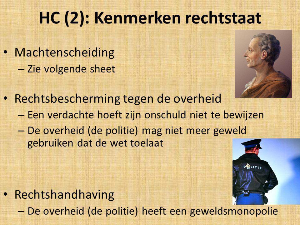 HC (2): Kenmerken rechtstaat Machtenscheiding – Zie volgende sheet Rechtsbescherming tegen de overheid – Een verdachte hoeft zijn onschuld niet te bew