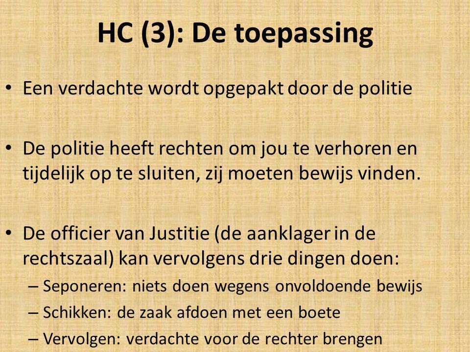 HC (3): De toepassing Een verdachte wordt opgepakt door de politie De politie heeft rechten om jou te verhoren en tijdelijk op te sluiten, zij moeten bewijs vinden.