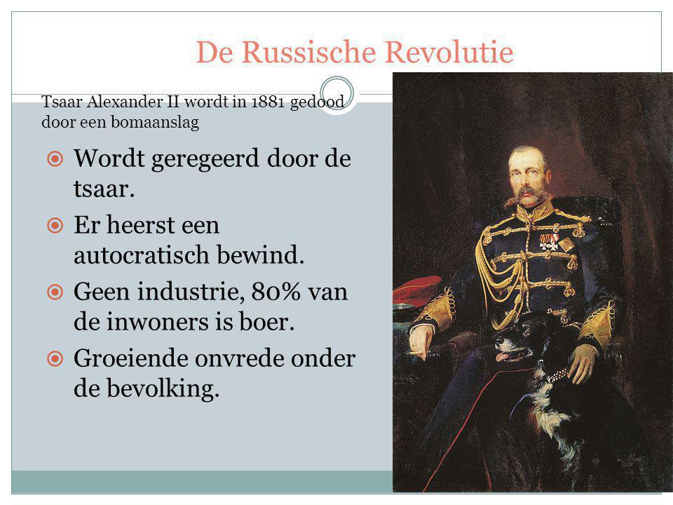  Wordt geregeerd door de tsaar.  Er heerst een autocratisch bewind.  Geen industrie, 80% van de inwoners is boer.  Groeiende onvrede onder de bevo