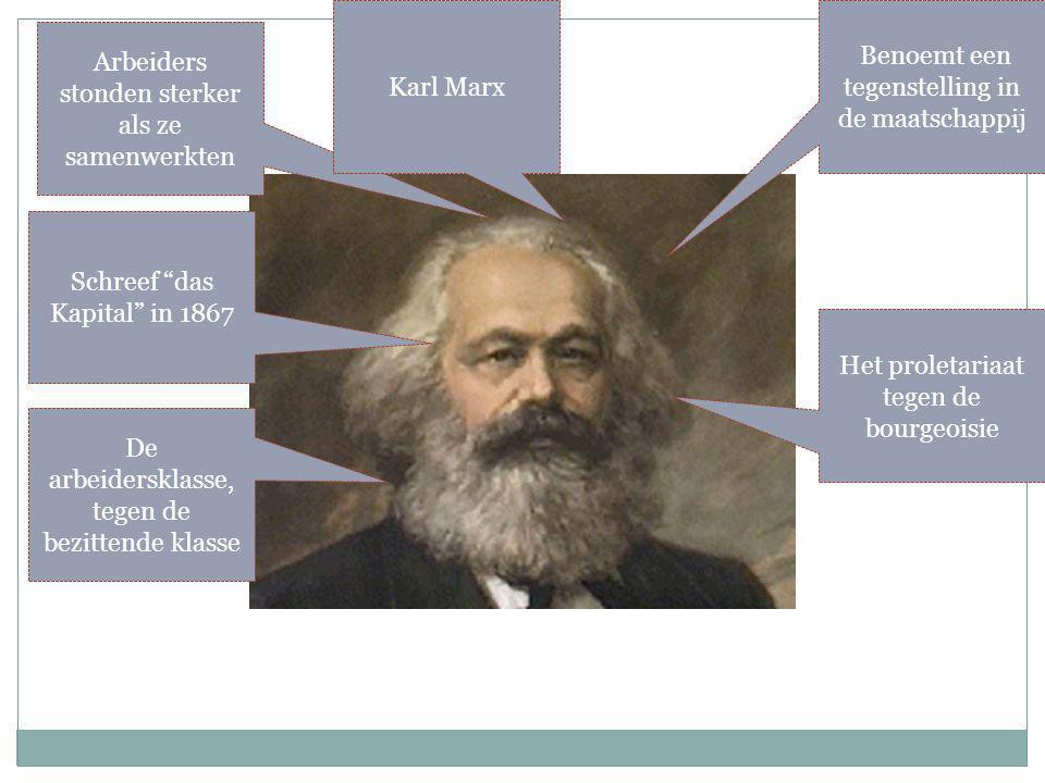 Arbeiders stonden sterker als ze samenwerkten Benoemt een tegenstelling in de maatschappij Het proletariaat tegen de bourgeoisie De arbeidersklasse, tegen de bezittende klasse Schreef das Kapital in 1867 Karl Marx