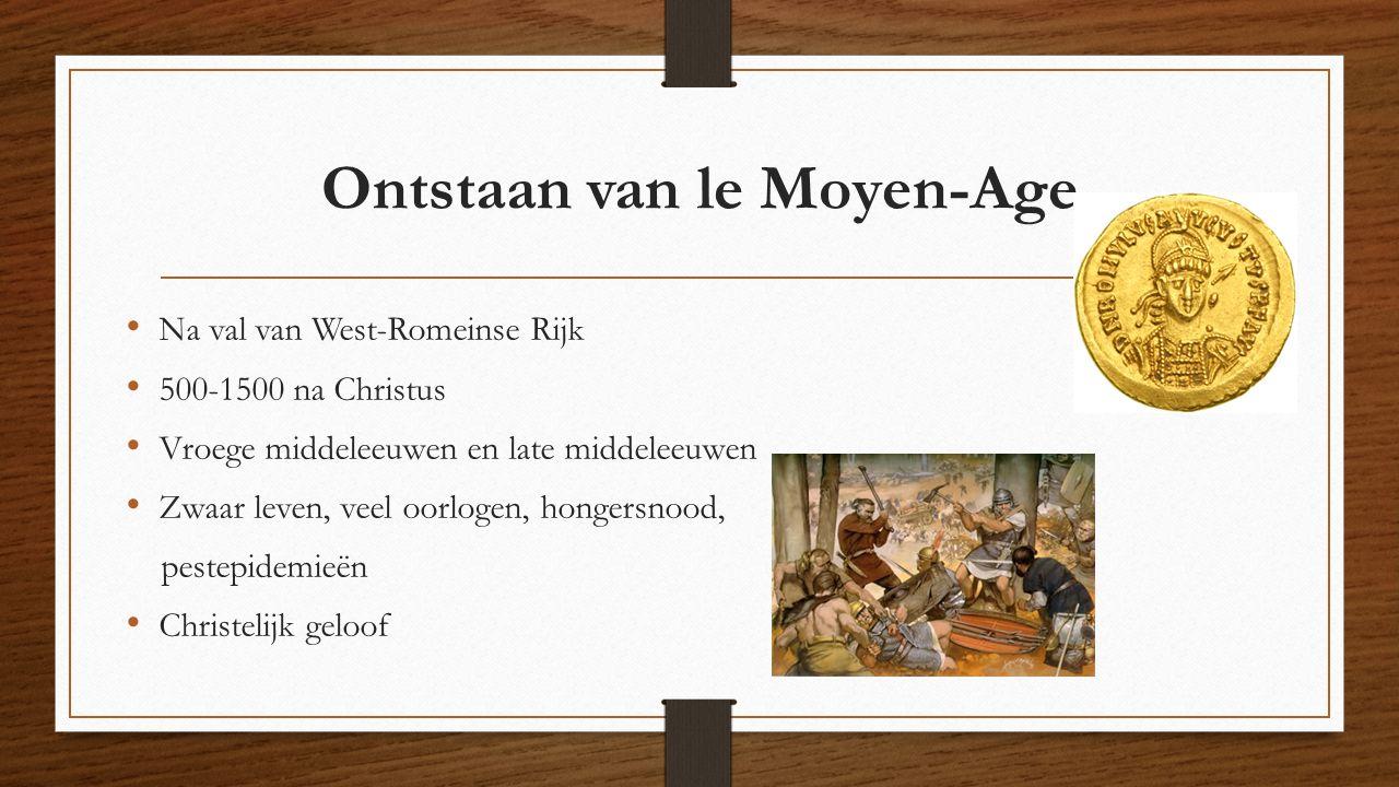 Na val van West-Romeinse Rijk 500-1500 na Christus Vroege middeleeuwen en late middeleeuwen Zwaar leven, veel oorlogen, hongersnood, pestepidemieën Ch