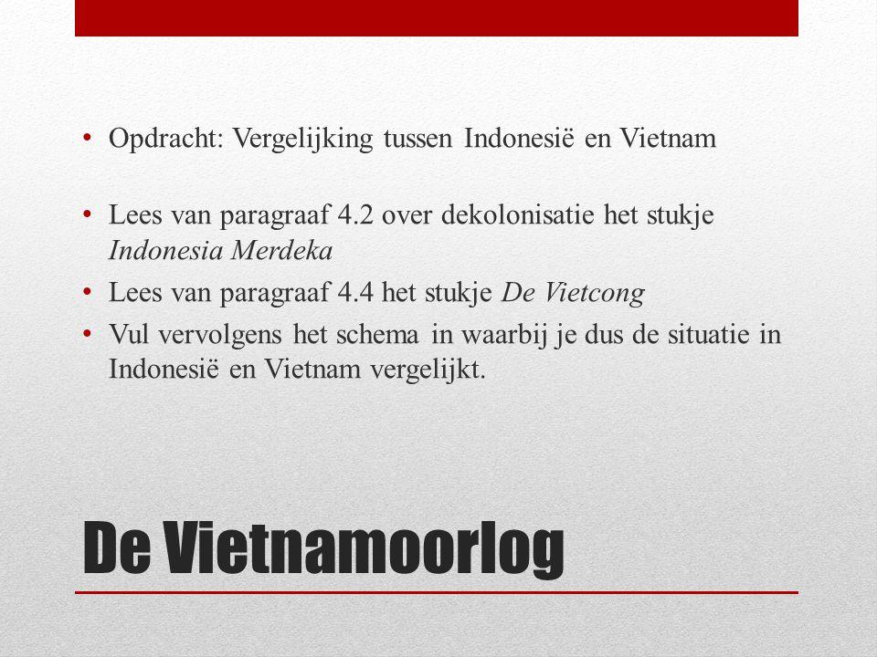 De Vietnamoorlog Opdracht: Vergelijking tussen Indonesië en Vietnam Lees van paragraaf 4.2 over dekolonisatie het stukje Indonesia Merdeka Lees van paragraaf 4.4 het stukje De Vietcong Vul vervolgens het schema in waarbij je dus de situatie in Indonesië en Vietnam vergelijkt.