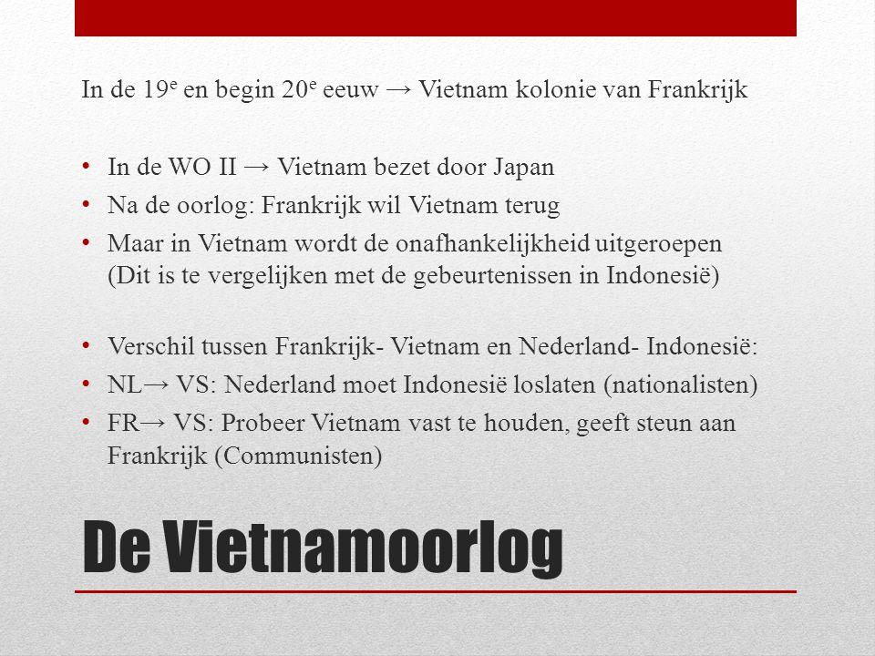In de 19 e en begin 20 e eeuw → Vietnam kolonie van Frankrijk In de WO II → Vietnam bezet door Japan Na de oorlog: Frankrijk wil Vietnam terug Maar in Vietnam wordt de onafhankelijkheid uitgeroepen (Dit is te vergelijken met de gebeurtenissen in Indonesië) Verschil tussen Frankrijk- Vietnam en Nederland- Indonesië: NL→ VS: Nederland moet Indonesië loslaten (nationalisten) FR→ VS: Probeer Vietnam vast te houden, geeft steun aan Frankrijk (Communisten)