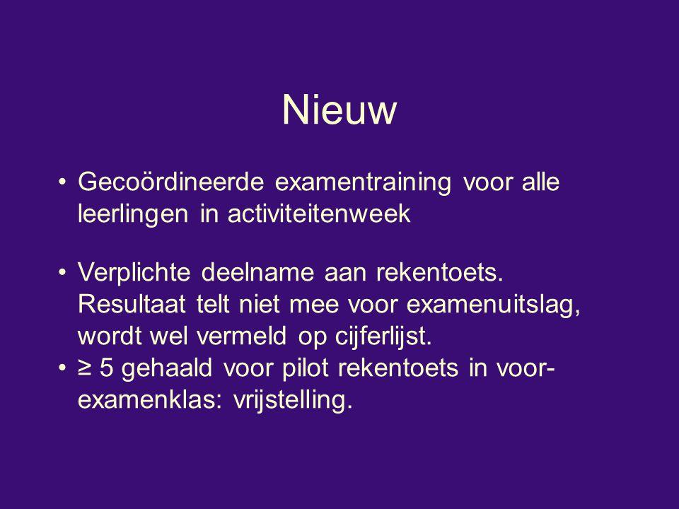 Nieuw Gecoördineerde examentraining voor alle leerlingen in activiteitenweek Verplichte deelname aan rekentoets.