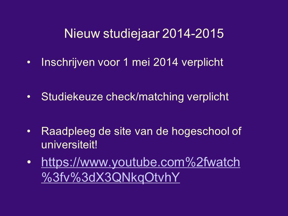 Nieuw studiejaar 2014-2015 Inschrijven voor 1 mei 2014 verplicht Studiekeuze check/matching verplicht Raadpleeg de site van de hogeschool of universiteit.