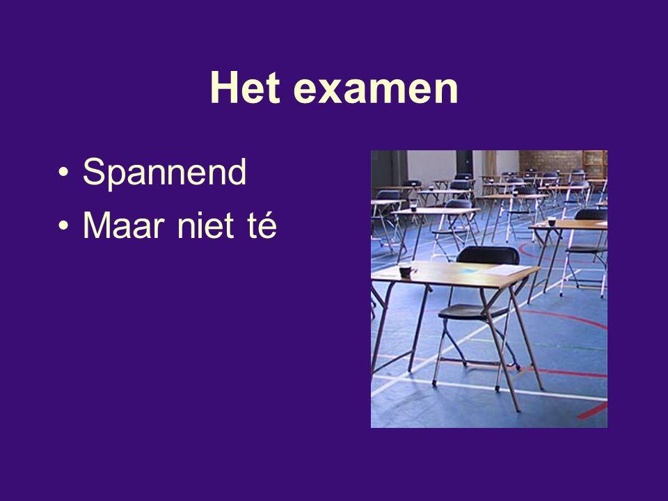 Examencijfers SCHOOLEXAMEN Beschreven in het PTA (programma van toetsing en afsluiting) –PO's –SE's –Schoolexamenreglement CENTRAAL EXAMEN –6 of 7 vakken –Strikte regelgeving