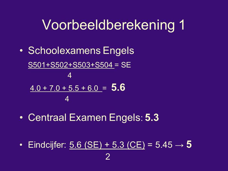 Voorbeeldberekening 1 Schoolexamens Engels S501+S502+S503+S504 = SE 4 4.0 + 7.0 + 5.5 + 6.0 = 5.6 4 Centraal Examen Engels : 5.3 Eindcijfer: 5.6 (SE)