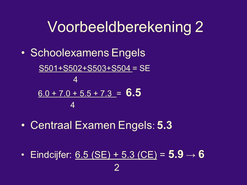 Voorbeeldberekening 2 Schoolexamens Engels S501+S502+S503+S504 = SE 4 6.0 + 7.0 + 5.5 + 7.3 = 6.5 4 Centraal Examen Engels : 5.3 Eindcijfer: 6.5 (SE)