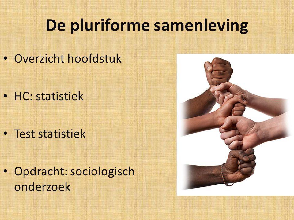 De pluriforme samenleving Overzicht hoofdstuk HC: statistiek Test statistiek Opdracht: sociologisch onderzoek