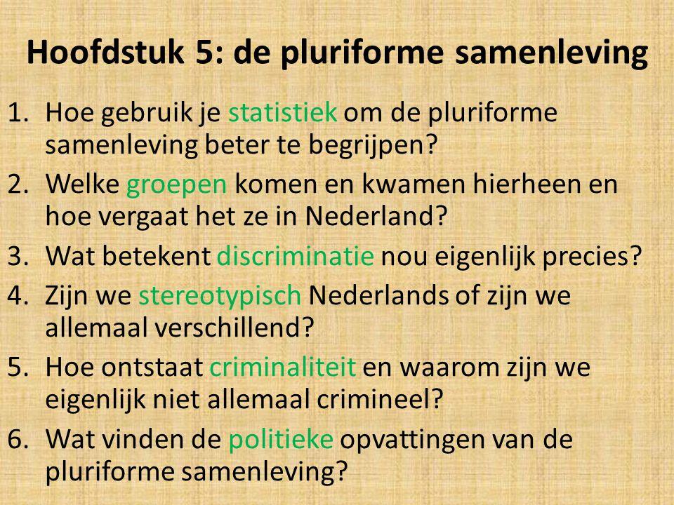 Hoofdstuk 5: de pluriforme samenleving 1.Hoe gebruik je statistiek om de pluriforme samenleving beter te begrijpen? 2.Welke groepen komen en kwamen hi
