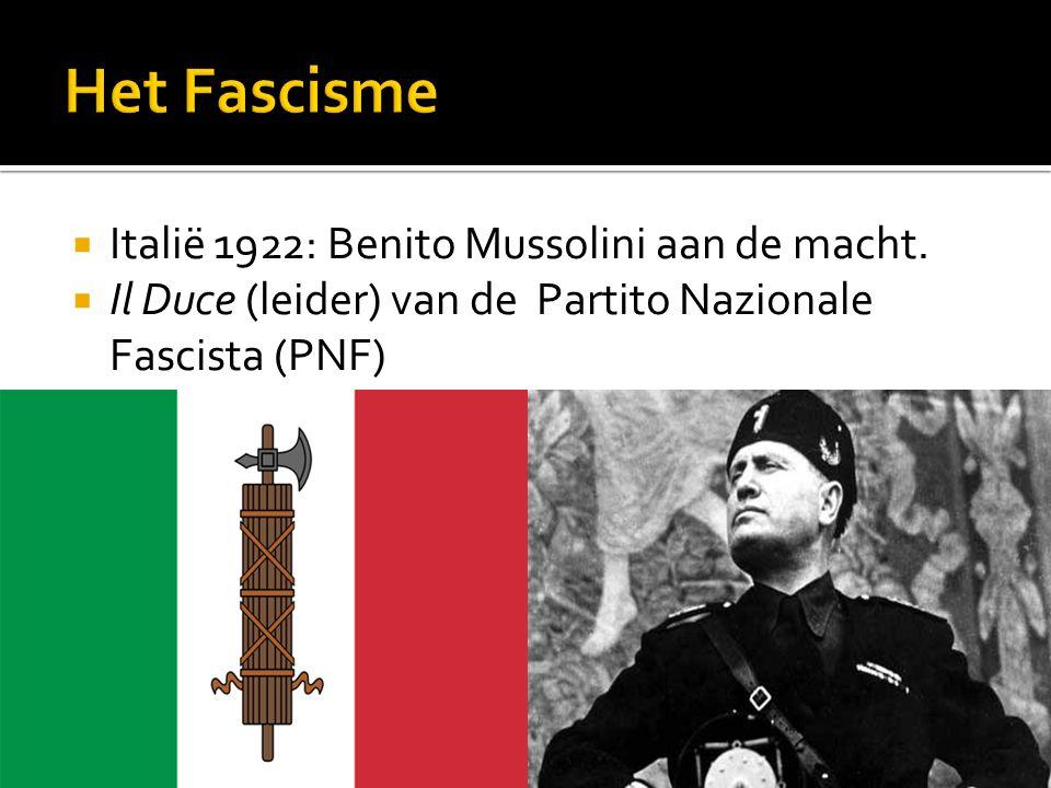  Italië 1922: Benito Mussolini aan de macht.