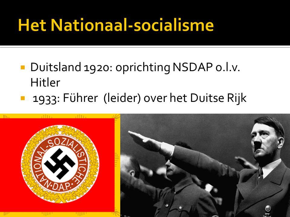  Duitsland 1920: oprichting NSDAP o.l.v. Hitler  1933: Führer (leider) over het Duitse Rijk