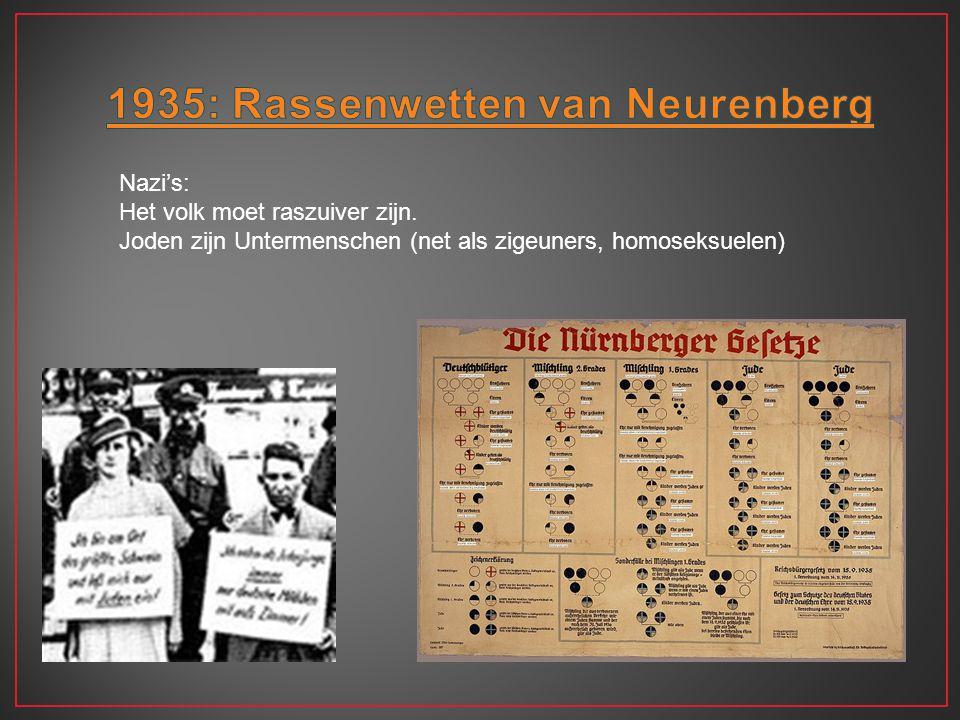 Nazi's: Het volk moet raszuiver zijn. Joden zijn Untermenschen (net als zigeuners, homoseksuelen)