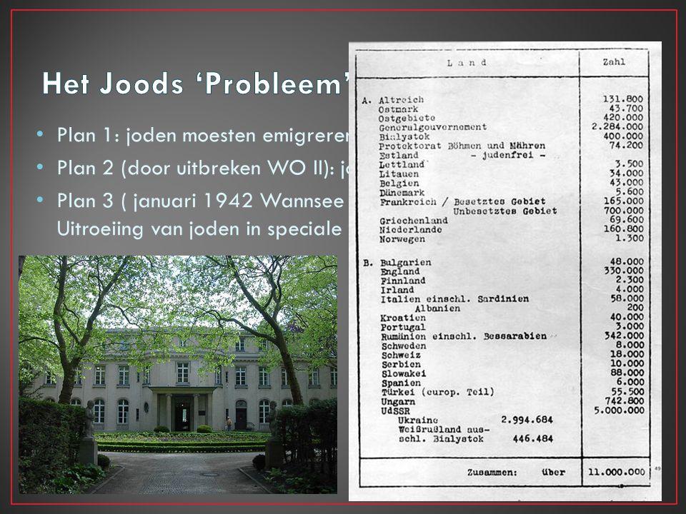 Plan 1: joden moesten emigreren naar Madagaskar Plan 2 (door uitbreken WO II): joden executeren in Polen Plan 3 ( januari 1942 Wannsee Conference): Ui