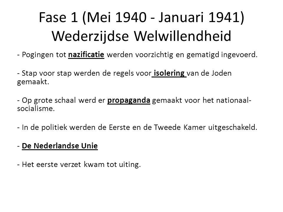 Fase 1 (Mei 1940 - Januari 1941) Wederzijdse Welwillendheid - Pogingen tot nazificatie werden voorzichtig en gematigd ingevoerd. - Stap voor stap werd