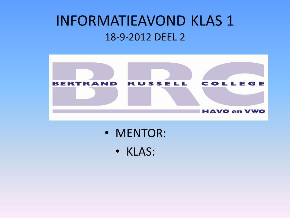 INFORMATIEAVOND KLAS 1 18-9-2012 DEEL 2 MENTOR: KLAS: