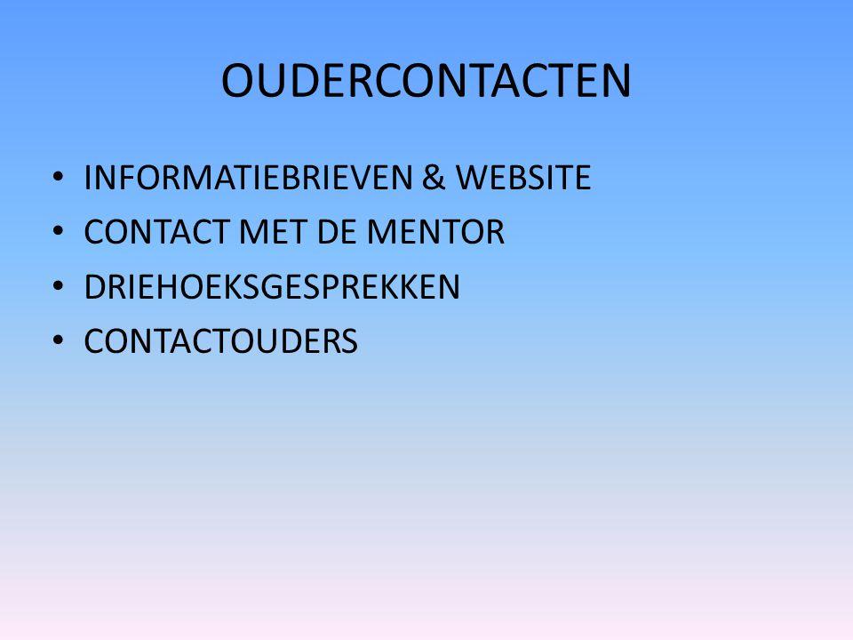 OUDERCONTACTEN INFORMATIEBRIEVEN & WEBSITE CONTACT MET DE MENTOR DRIEHOEKSGESPREKKEN CONTACTOUDERS