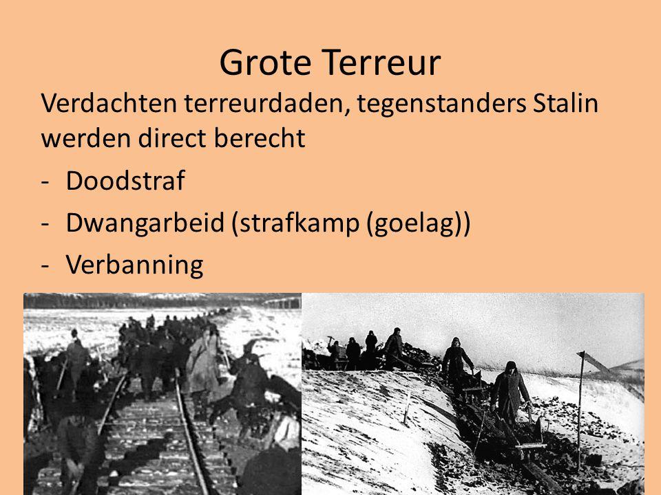 Grote Terreur Verdachten terreurdaden, tegenstanders Stalin werden direct berecht -Doodstraf -Dwangarbeid (strafkamp (goelag)) -Verbanning