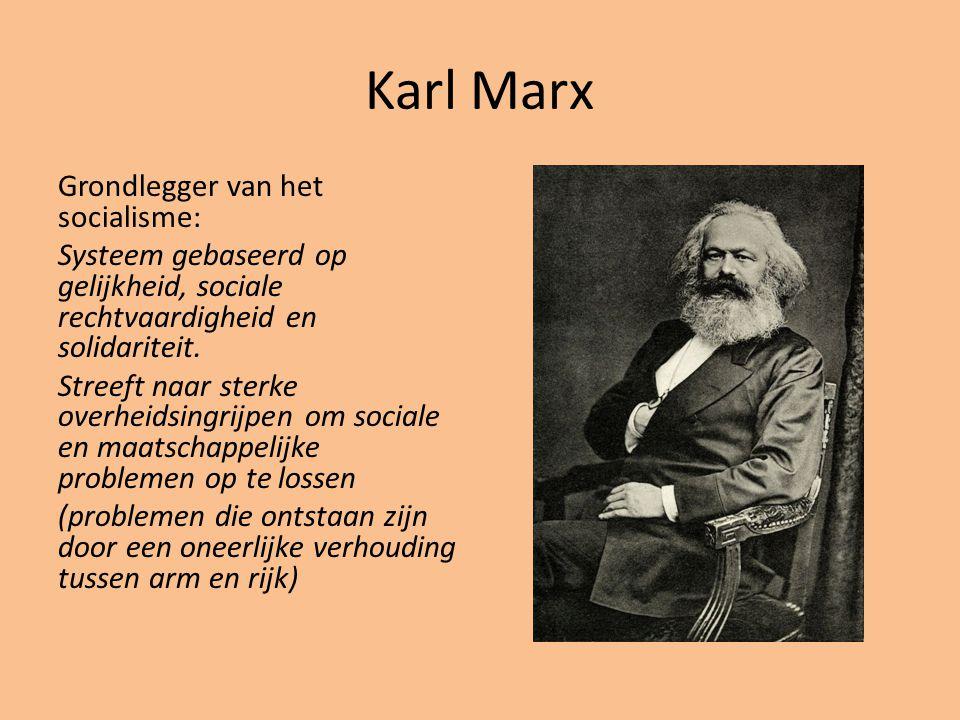 Karl Marx Grondlegger van het socialisme: Systeem gebaseerd op gelijkheid, sociale rechtvaardigheid en solidariteit. Streeft naar sterke overheidsingr