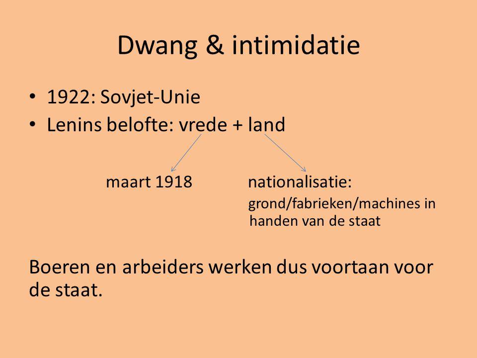 Dwang & intimidatie 1922: Sovjet-Unie Lenins belofte: vrede + land maart 1918 nationalisatie: grond/fabrieken/machines in handen van de staat Boeren e