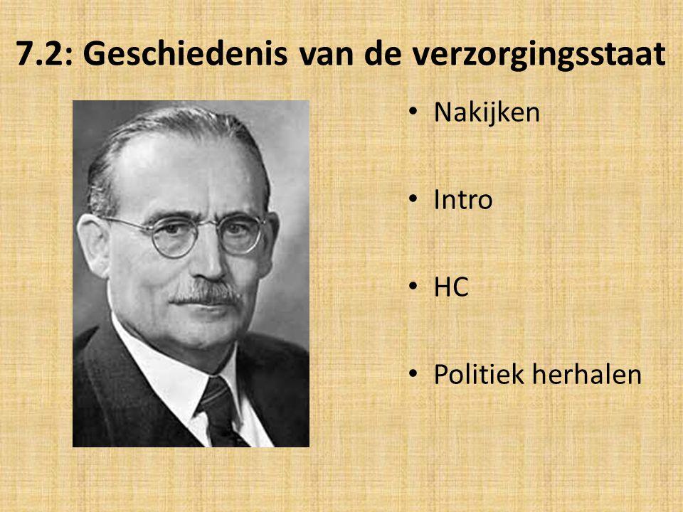 7.2: Geschiedenis van de verzorgingsstaat Nakijken Intro HC Politiek herhalen