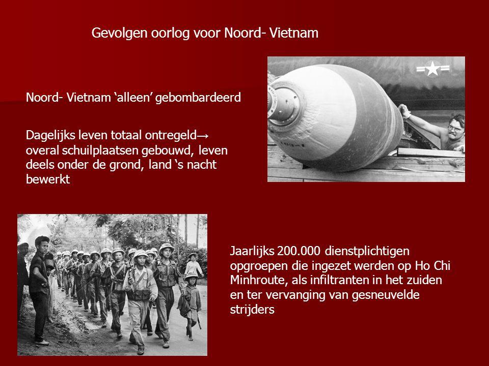 Gevolgen oorlog voor Noord- Vietnam Noord- Vietnam 'alleen' gebombardeerd Dagelijks leven totaal ontregeld → overal schuilplaatsen gebouwd, leven deel