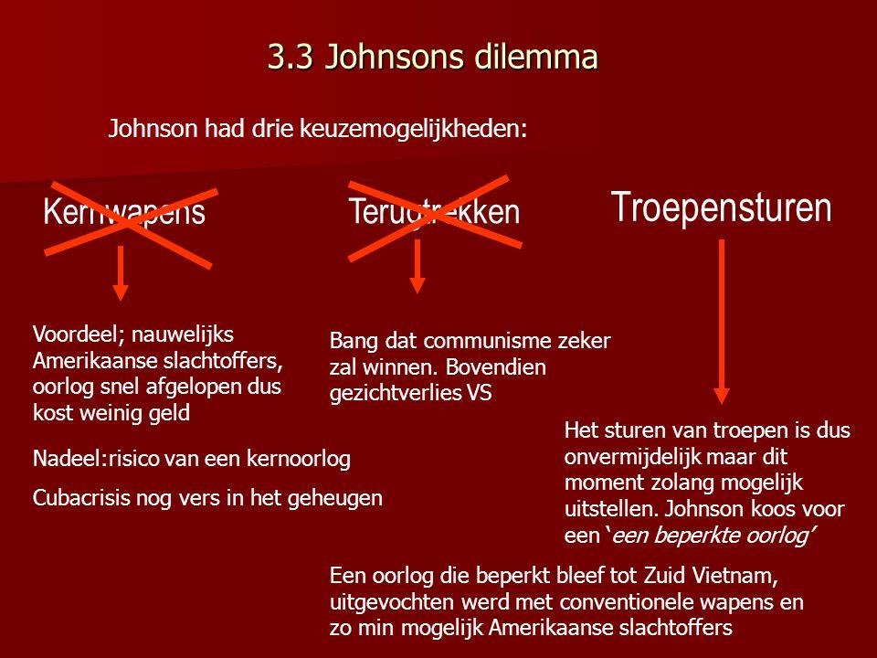 3.3 Johnsons dilemma Johnson had drie keuzemogelijkheden: Voordeel; nauwelijks Amerikaanse slachtoffers, oorlog snel afgelopen dus kost weinig geld Nadeel:risico van een kernoorlog Cubacrisis nog vers in het geheugen Bang dat communisme zeker zal winnen.