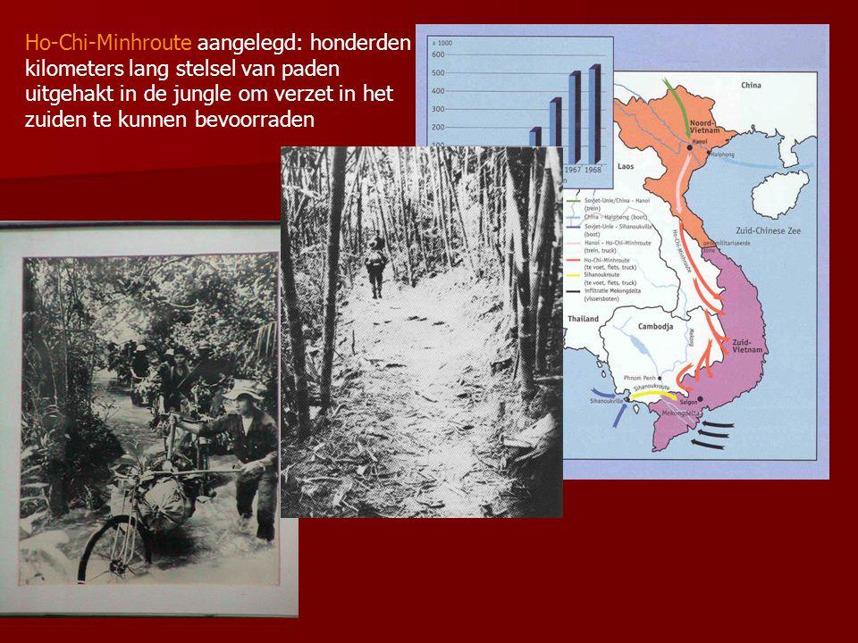 Ho-Chi-Minhroute aangelegd: honderden kilometers lang stelsel van paden uitgehakt in de jungle om verzet in het zuiden te kunnen bevoorraden