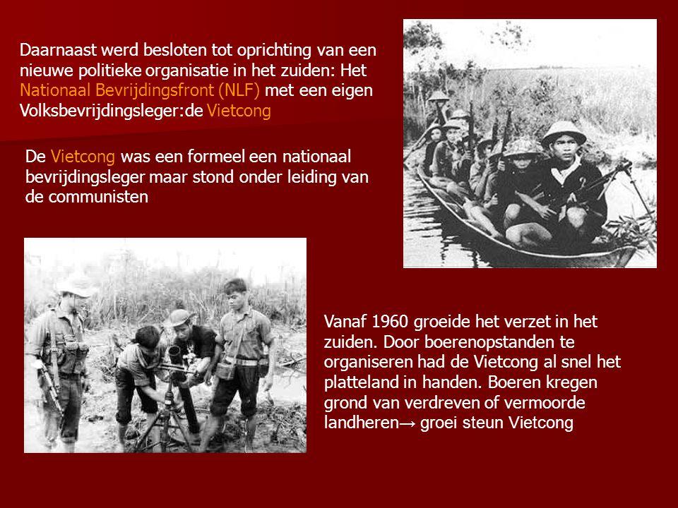 Diem ondertussen door Amerikanen onder druk gezet om landbouw te hervormen Bouw 'versterkte dorpen' (strategic hamlets), bedoeld om boeren te beschermen tegen communistische terreur Boeren woonden er in stenen huizen, er waren sanitaire voorzieningen, gezondheidszorg, scholen.