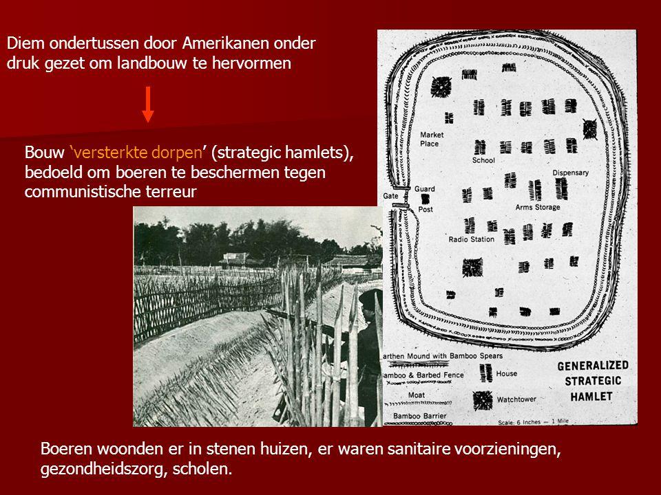 Versterkte dorpen waren niet populair ondanks moderne voorzieningen Boeren werden gedwongen om er naar toe te verhuizen.