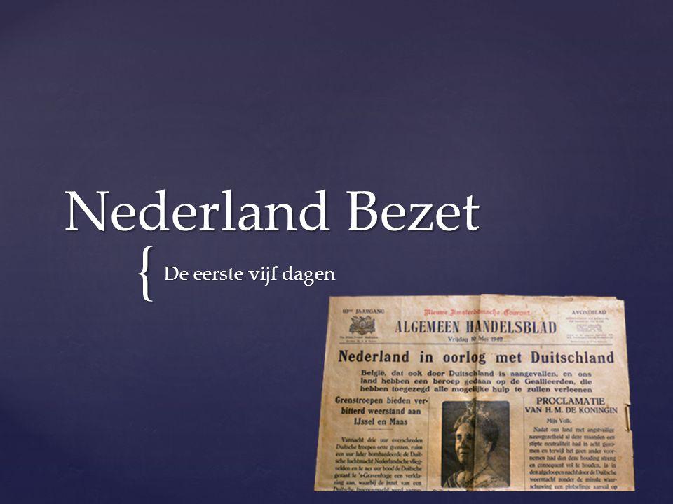  Neutraal  145 jaar geen oorlog op eigen grondgebied  Probleem neutraliteit: - geen bondgenoten - niet geïnvesteerd in defensie Welke positie nam Nederland vóór de inval van Duitsland in.