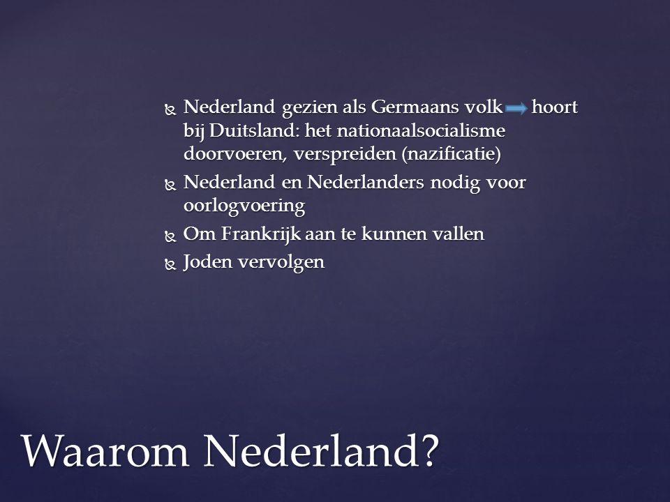  Nederland gezien als Germaans volk hoort bij Duitsland: het nationaalsocialisme doorvoeren, verspreiden (nazificatie)  Nederland en Nederlanders no