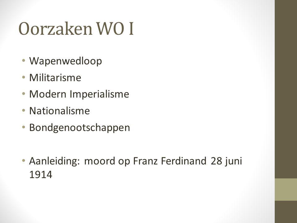 Oorzaken WO I Wapenwedloop Militarisme Modern Imperialisme Nationalisme Bondgenootschappen Aanleiding: moord op Franz Ferdinand 28 juni 1914