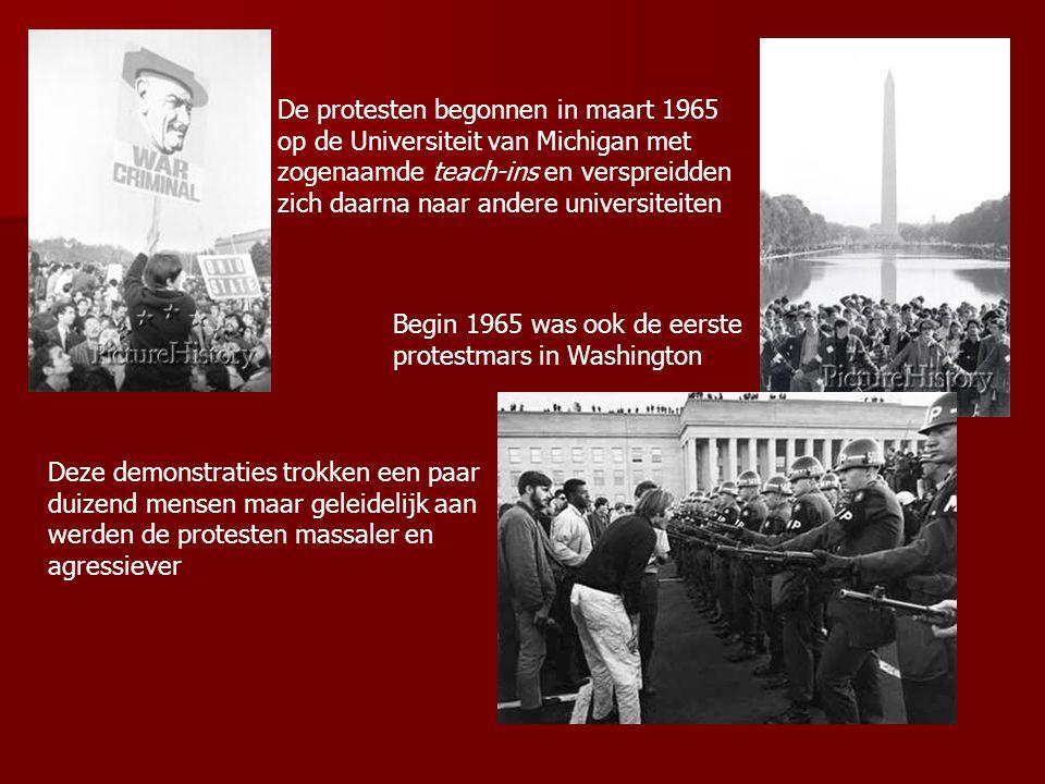 De protesten begonnen in maart 1965 op de Universiteit van Michigan met zogenaamde teach-ins en verspreidden zich daarna naar andere universiteiten Be